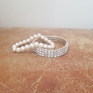 Swarovski and pearl bracelet bundle